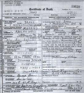 Jenny Weiss Death Certificate