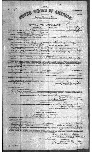 Jacob Greenfield Petition for Naturalization