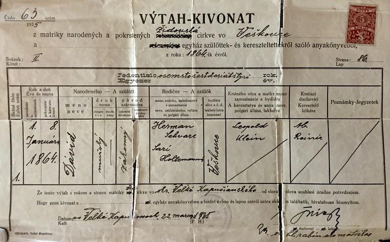 David Schwartz Birth Certificate
