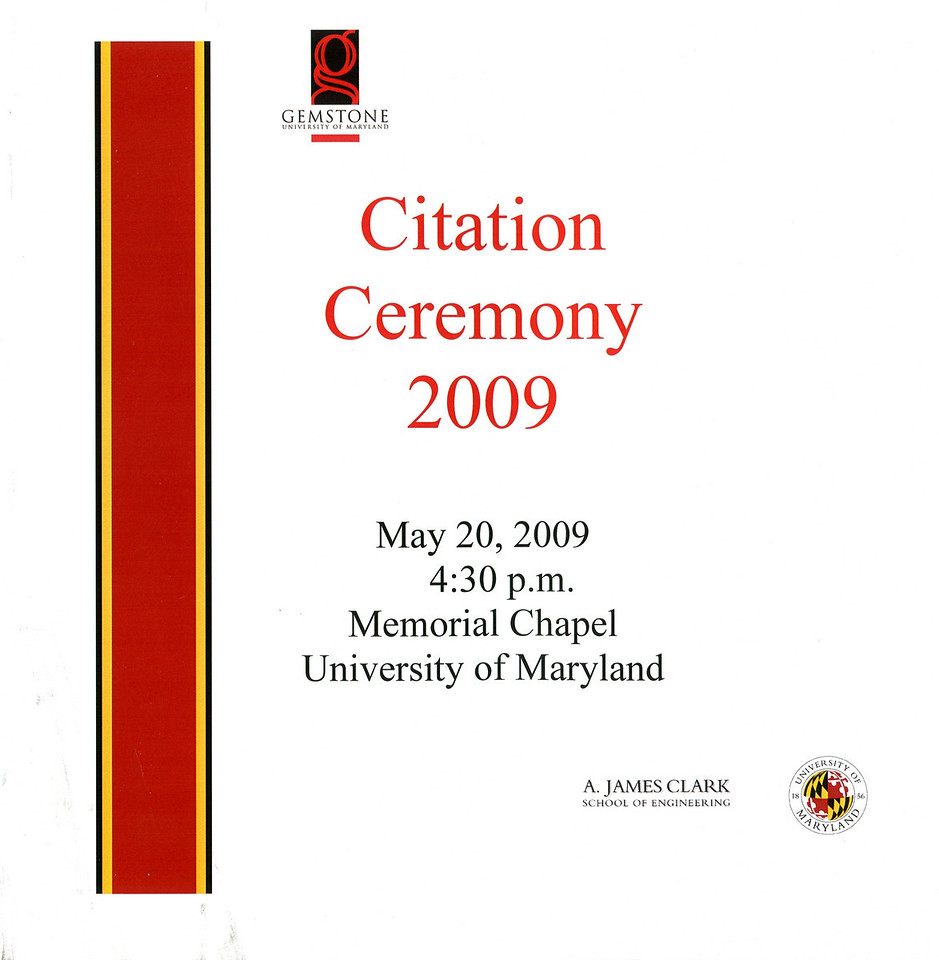The Gemstone Citation Ceremony program