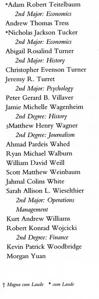 Adam's entry from the main commencement ceremony program