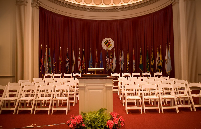 The platform before the start of Adam's Gemstone Citation Ceremony