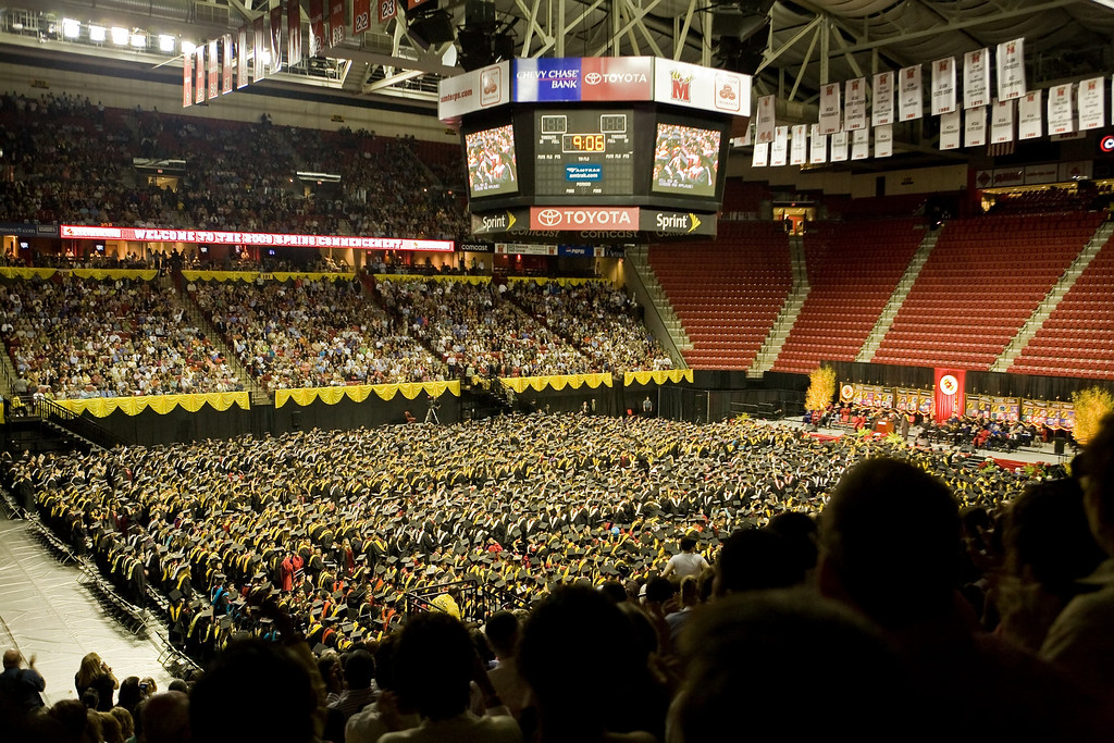 The main Commencement Ceremony at the Comcast Center