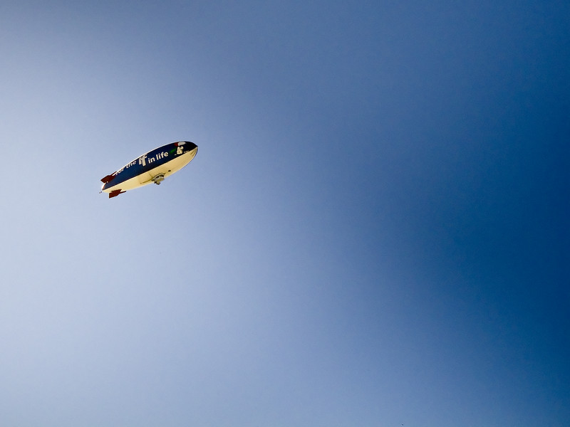 """Metlife blimp """"for the IF in life""""."""
