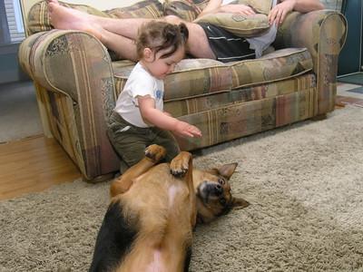 """Roll over, Annie! Good dog!"""