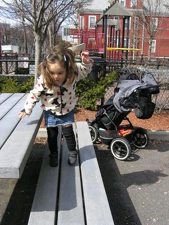 Hopping everywhere she goes.