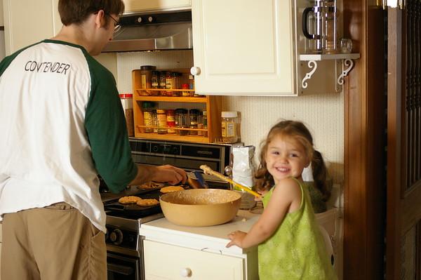 Helping Lars make pancakes.