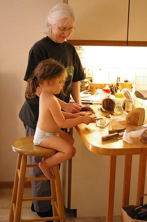 Making cinnamon toast with Max's grandma Katy.