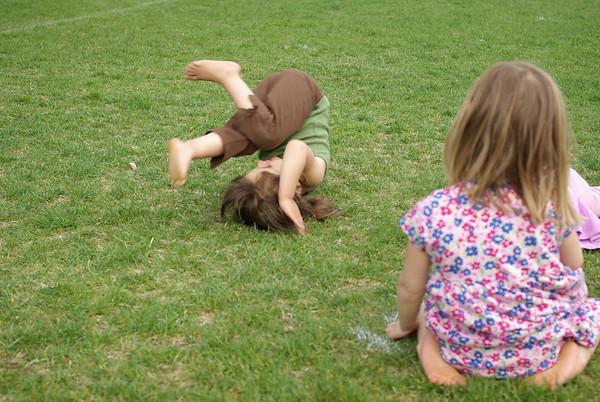Acrobatics in the park.