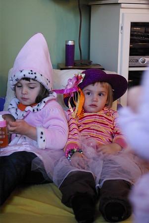 Guen and Anya play dress-up at Bella and Harper's house.