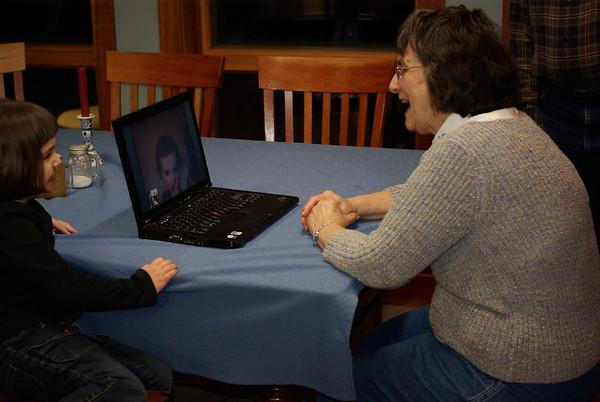 Grandma Miller makes a video call.