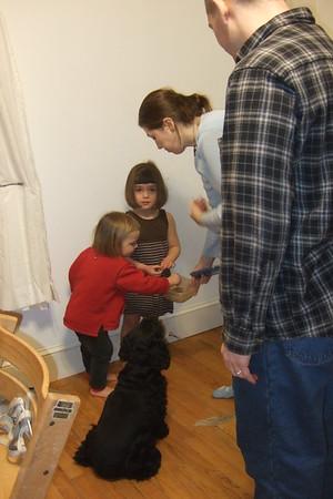 Feeding treats to Lucy.