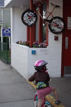 "Guen waits for the Bike Valet at local restaurant <a href=""http://www.redbones.com/"">Redbones</a>."