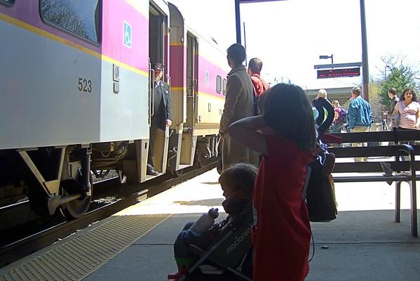 The purple train is loud.