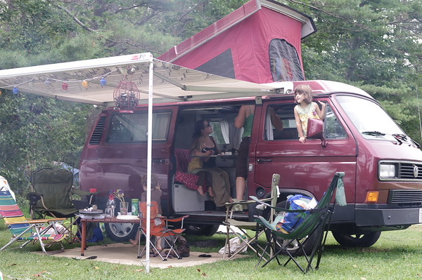 The Gaudettes let us sleep in the van because we were all big babies about the lightning.