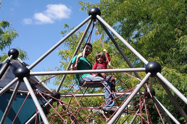 Matthew and Guen at the spider-pyramid.