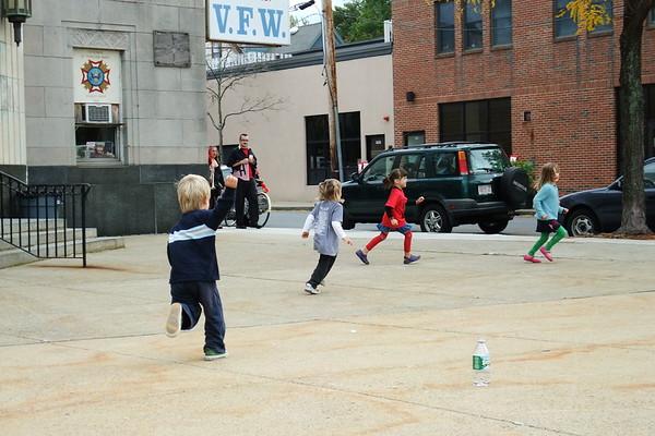 The kids run around between acts.