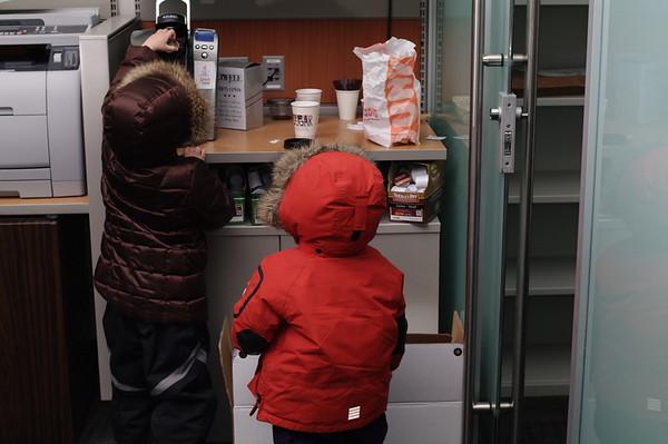 Making hot chocolate at Matthew's office.
