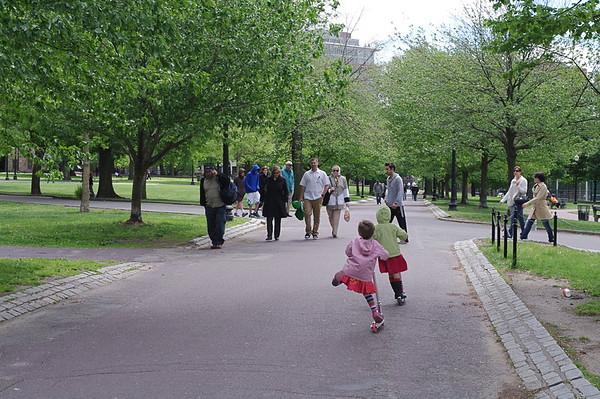 Zipping through the Boston Common.