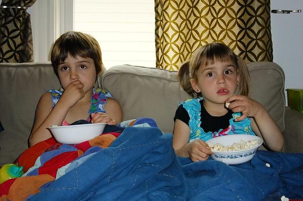 Popcorn and tee-vee.