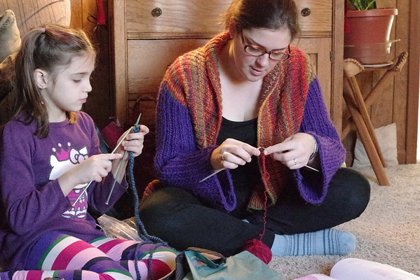 Knitting with mommy.