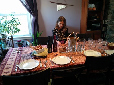 Setting the table for Thanksgiving.