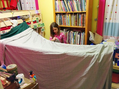 Building a blanket fort.