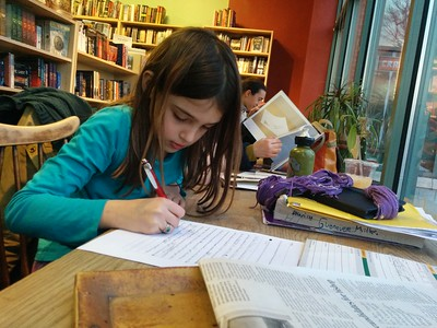 Homework at the bookstore.