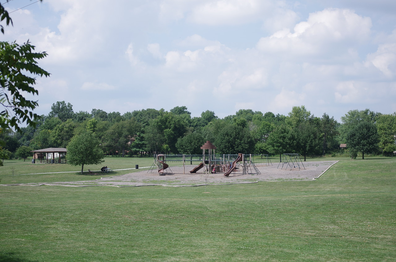 We stop for a break from driving at this playground, otherwise deserted in 100° weather.