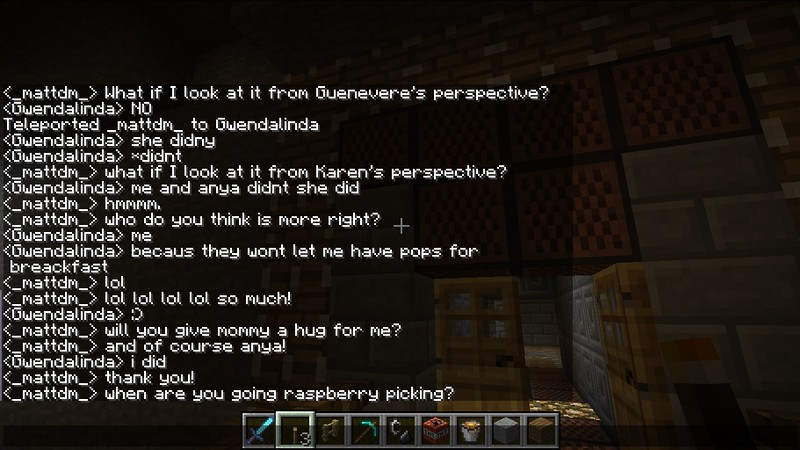 Minecraft text chat with Daddy in Prague.