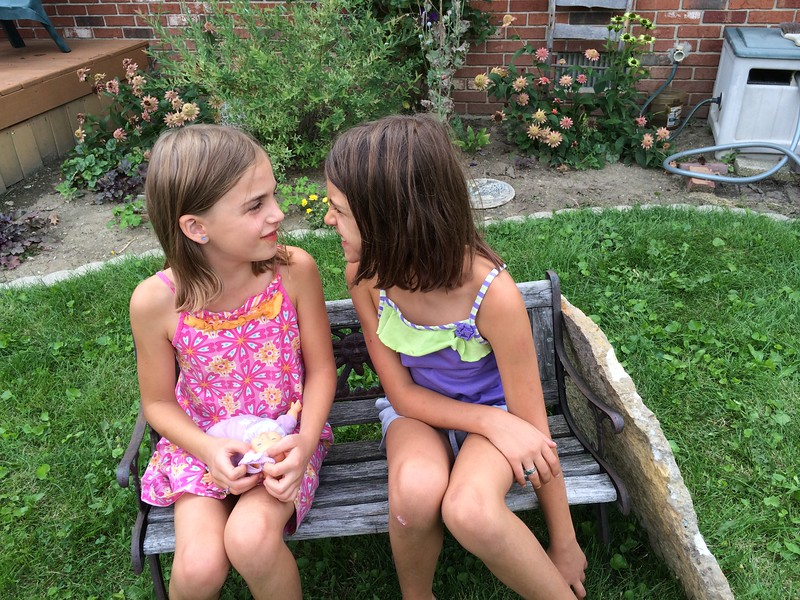 Backyard bench.