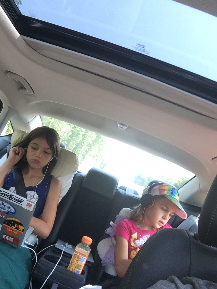 Driving to a waterpark (while Daddy is traveling).