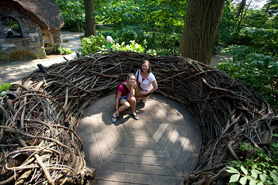 The nest.  Anisa and Linda are sitting on the giant wooden eggs