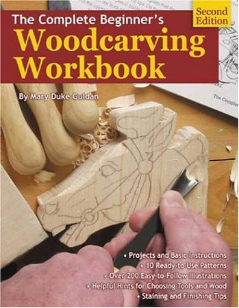 """<b>Publisher Notes</b> With an X-acto knife and a bit of concentration, a beginning woodcarver needs only this updated manual to start—and finish—beautiful woodcarving projects. Wood type descriptions, 12 starter patterns, and clear illustrations on how to carve a sun and moon clockface, carousel horse head, cherub, teddy bear, and dog are provided. An overview of the tools needed to get started is included, with suggestions on additional tools and techniques to use once proficiency increases. Both relief carving and carving-in-the-round are covered.  <b>Book Details Summary</b> The title of this book is The Complete Beginner's Woodcarving Workbook and it was written by Mary Duke Guldan. This 2nd edition of The Complete Beginner's Woodcarving Workbook is in a Paperback format. This books publish date is May 2003 and it has a suggested retail price of $9.95. There are 56 pages in the book and it was published by Fox Chapel Pub Co Inc. The 10 digit ISBN is 156523197X and the 13 digit ISBN is 9781565231979.   Click <a href=""""http://www.allbookstores.com/Complete-Beginners-Woodcarving-Workbook-Mary/9781565231979"""" target=""""_blank"""">here</a> to order."""