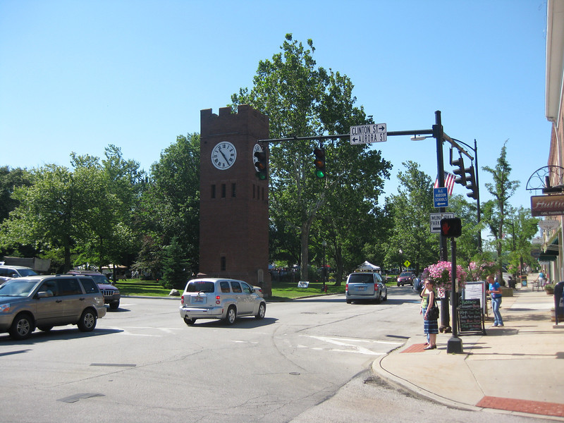 Downtown.  Hudson is famous for its clock tower and green area.   This preserved by my mother via Hudson Heritage association at the dawn of its formation which served to anchor this
