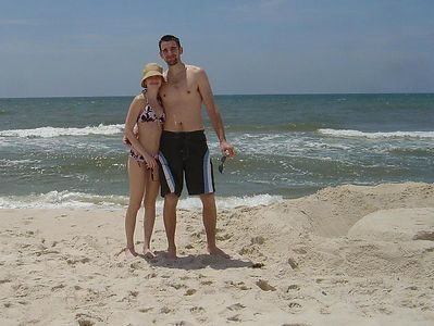 Kate and Miles on the beach.  First day and looking pale.
