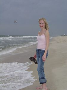 Kate on the beach.