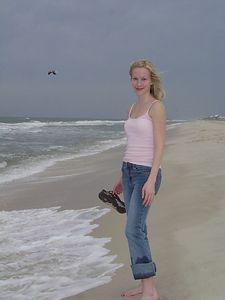 Kate on the beach.