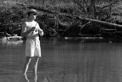 Brian fishing in just a pair of shorts and river hat.  Yes it was 75 degrees the first weekend of November.