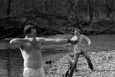 No float trip is complete without throwing rocks at a target.