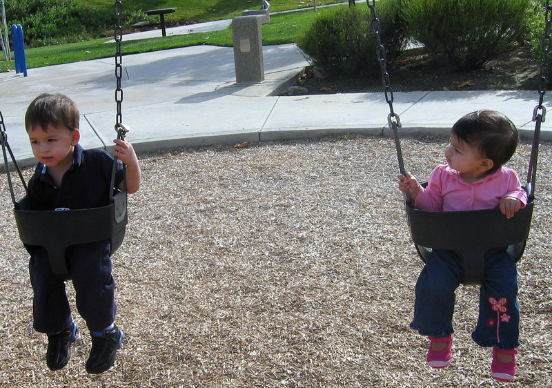 Aren't you too big for these swings now?