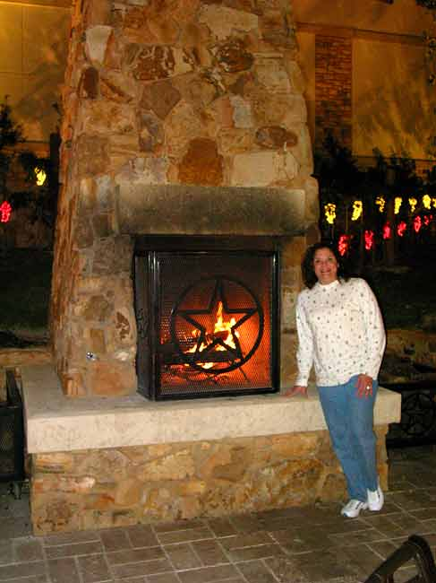 PINON BURNING IN THE FIREPLACE OUTSIDE AT THE VINYARD