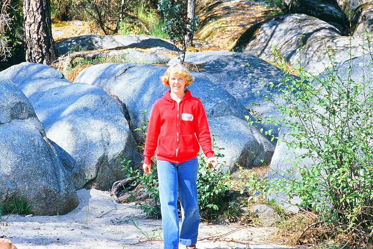 Susan taking a walk in Yosemite, 1980