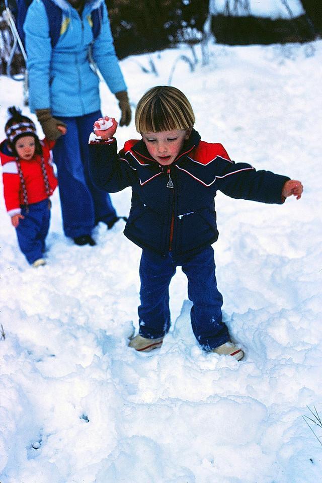 David's first snowball toss, 1981