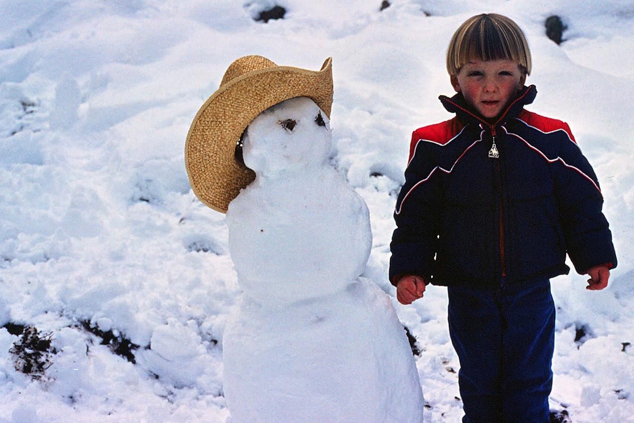 David's first snowman, 1982