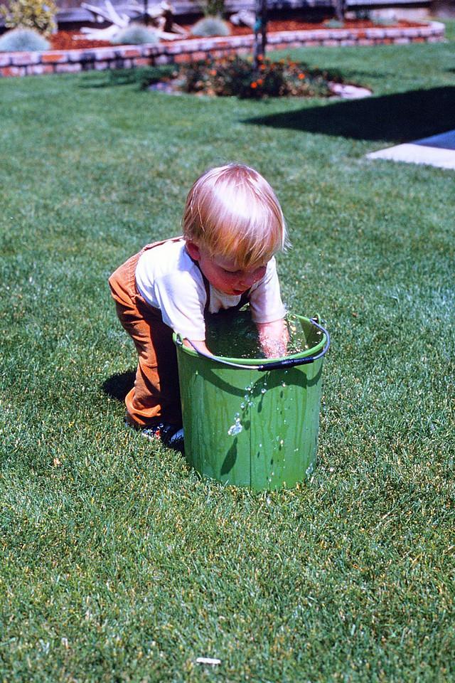 David getting wet, 1980