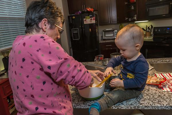 Haddon & Grandma Baking Christmas cookies