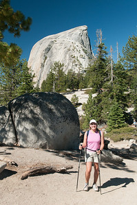As we approach the sub-dome, our first closeup look at the side of Half Dome that we're going up
