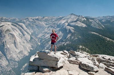 View to the north off the top of Half Dome.  A little smokey from a nearby forest fire.
