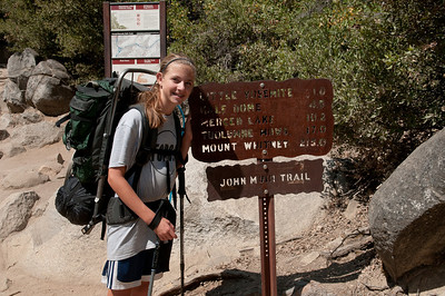 At the top of Nevada Falls, only a mile to our camp site.  A long ways to Mt. Whitney.